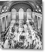 Grand Central Terminal Birds Eye View I Bw Metal Print