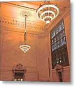 Grand Central Terminal Chandeliers Metal Print
