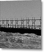 Grand Haven Light In Black And White Metal Print