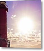 Grand Haven Lighthouse At Sunset Metal Print