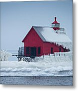 Grand Haven Lighthouse Encased In Ice Metal Print