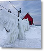Grand Haven Lighthouse In Winter Metal Print
