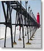 Grand Haven Lighthouse Pier In Winter Metal Print