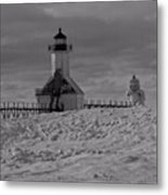 Saint Joseph Michigan Lighthouse In Winter Metal Print