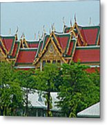 Grand Palace Of Thailand From Waterways Of Bangkok-thailand Metal Print