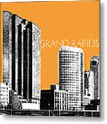 Grand Rapids Skyline - Orange Metal Print