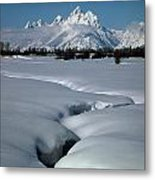 1m9304-grand Teton From Jackson Hole, Winter, H Metal Print