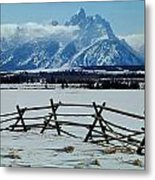 1m9306-grand Tetons From Ranch Country Metal Print