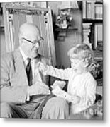 Grandfather Plays With Child Metal Print