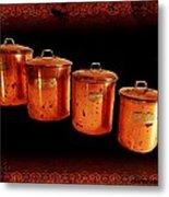 Grandma's Kitchen-copper Canister Set Metal Print