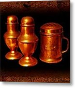 Grandma's Kitchen-copper Salt Pepper  And Flour Shakers Metal Print