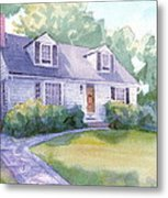Grandmothers Cottage Watercolor Portrait Metal Print