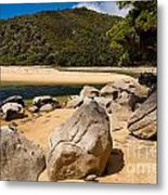 Granite Boulders In Abel Tasman Np New Zealand Metal Print