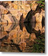 Granite Cliffs And Reflections In A Quarry Lake Metal Print