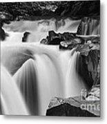 Granite Falls Black And White Metal Print