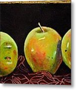 Granny Smith On Red Metal Print