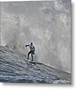 Grant Washburn Racing For His Life At Mavericks Metal Print