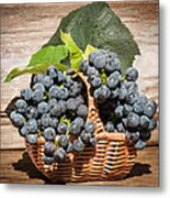 Grapes And Leaves In Basket Metal Print by Len Romanick