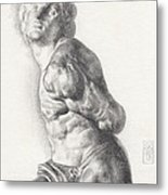 Graphite Drawing Of The Rebellious Slave Sculpture By Michelangelo Buonarotti Metal Print