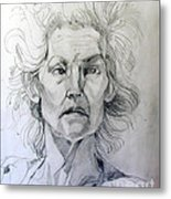 Graphite Portrait Sketch Of A Well Known Cross Eyed Model Metal Print