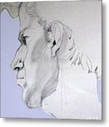 Graphite Portrait Sketch Of A Young Man In Profile Metal Print