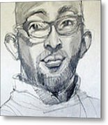 Graphite Portrait Sketch Of A Young Man With Glasses Metal Print