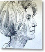 Portrait Drawing Of A Woman In Profile Metal Print