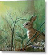 Grass Rabbit Metal Print