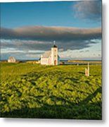 Grasslands And Flatey Church, Flatey Metal Print