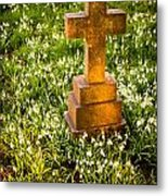 Gravestone With Snowdrops Metal Print