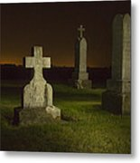 Gravestones At Night Painted With Light Metal Print