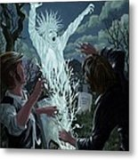 Graveyard Digger Ghost Rising From Grave Metal Print