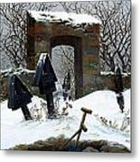 Graveyard Under Snow Metal Print