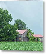 Gray Sky - Red Roofed Barn - Green Fields Metal Print