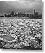 Gray Winter Chicago Skyline Metal Print