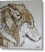 Gray Wolf Pyrographic Wood Burn Original 5.75 X 5.75 Inch Art Panel Metal Print