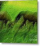 grazing Horses watercolor Metal Print