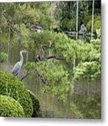 Great Blue Heron In Pond Kyoto Japan Metal Print