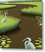 Great Blue Herons On A Lily Pad Pond Metal Print