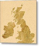 Great Britain Map Metal Print