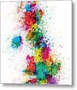 Great Britain Uk Map Paint Splashes Metal Print