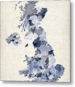 Great Britain Uk Watercolor Map Metal Print by Michael Tompsett
