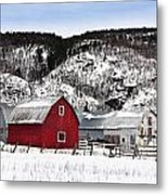 Great Canadian Red Barn In Winter Metal Print