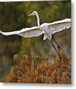 Great Egret Pixelated Metal Print