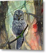 Great Grey Owl In Abstract Metal Print by Paul Krapf