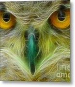 Great Horned Eyes Fractal Metal Print