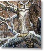 Great Horned Owl Another Storm Metal Print