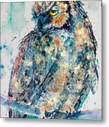Great Horned Owl In Gold Metal Print