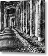 Great Northern Railroad Snow Shed - Black And White Metal Print
