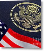Great Seal Of The United States And American Flag Metal Print